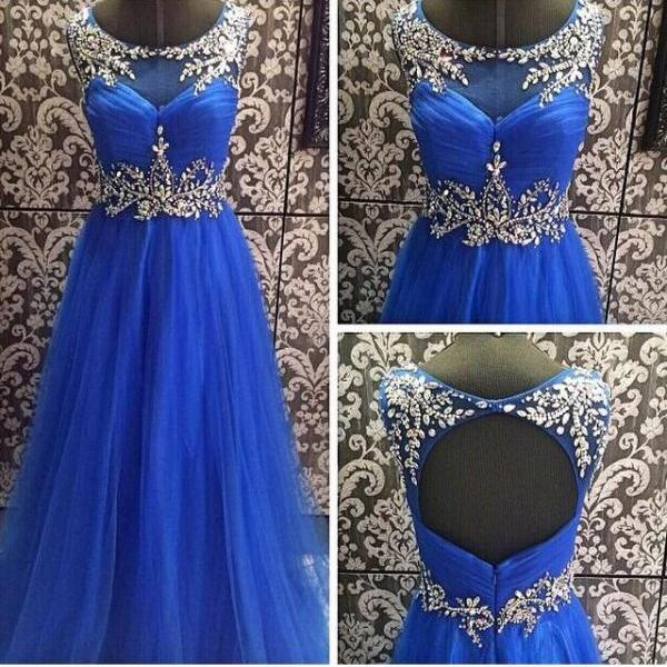 Prom Dresses,Blue Prom Dress,Modest Prom Gown,Ball Gown Prom Gown,Princess Evening Dress,Ball Gown Evening Gowns