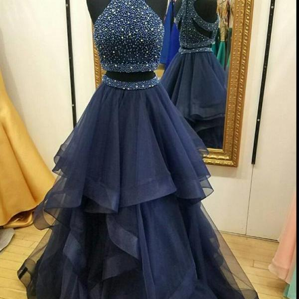 Charming Navy Blue Prom Dress,Two Piece Prom Dresses,Ball Gown Prom Dress,Long Party Dresses, 2 Piece Prom Dress, Beading Prom Dress, Senior Prom Gowns