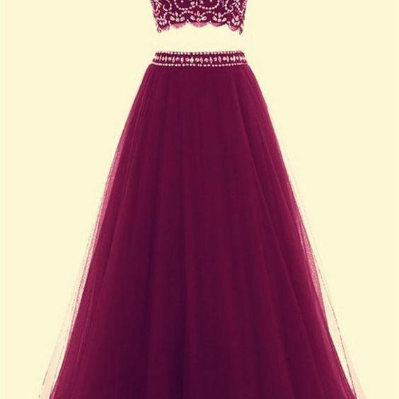 2 Piece Prom Gown,Two Piece Prom Dresses,Burgundy Evening Gowns,2 Pieces Party Dresses,Burgundy Evening Gowns,Formal Dress For Teens