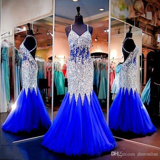 Royal Blue Prom Dresses,Royal Blue Prom Dress,Silver Beaded Formal Gown,Mermaid Beadings Prom Dresses,Evening Gowns,Tulle Formal Gown For Senior Teens