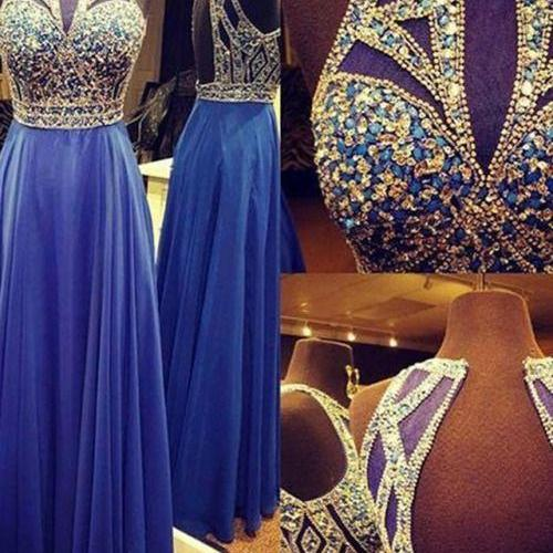 Royal Blue Prom Dress,A line Prom Dress,Chiffon Prom Gown,Backless Prom Dresses,Sexy Evening Gowns,Straps Evening Gown,Open Back Party Dress,Beaded Formal Gowns For Teens