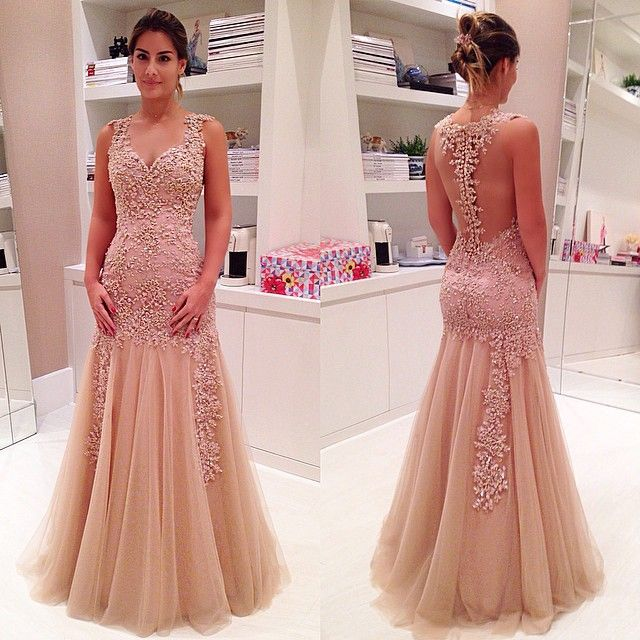Champagne Prom Dresses,Charming Evening Dress,Champagne Prom Gowns ...