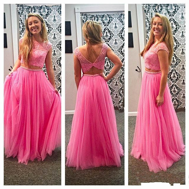 41023779707 Elegant Pink Two Pieces Beaded Crystals Prom Dresses Sexy Scoop Neckline  Short Sleeve Appliques Tulle Evening Gowns
